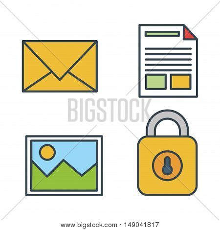 collection icons secutiry data design isolated vector illustration eps 10