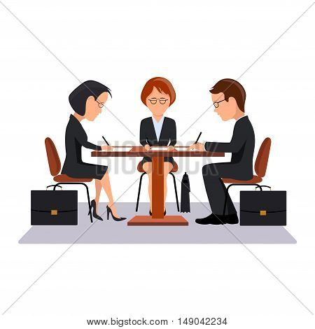 On the image it is presented Contract signature work at office, an illustration in flat style.