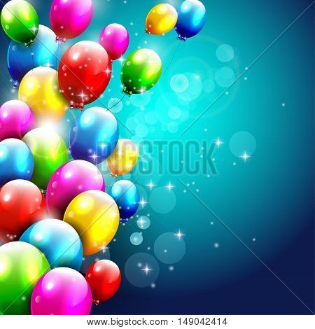 Birthday background with flying colorful balloons and with place for text
