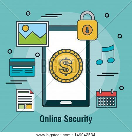 protecting online security internet shop design vector illustration eps 10