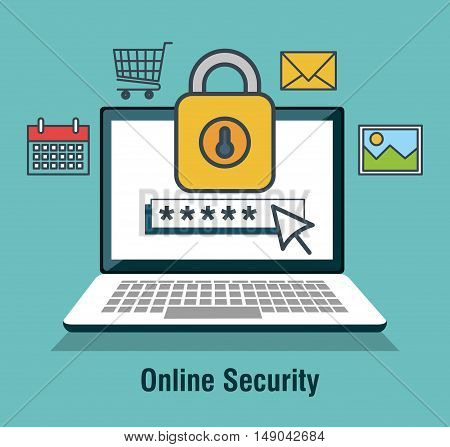 protecting computing code security desing isolated vector illustration eps 10