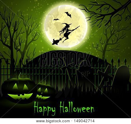 Halloween spooky background with moon fence witch bats and two pumpkins. Vector. Green