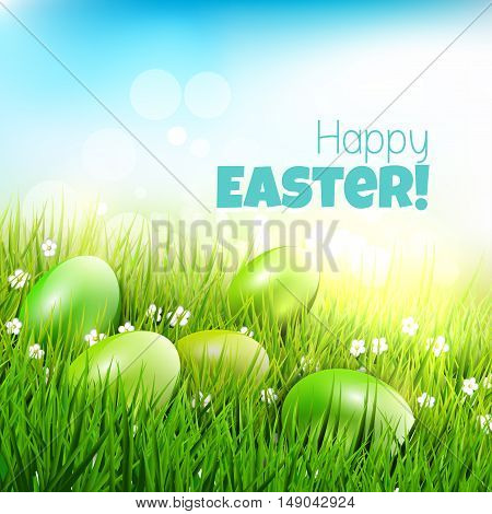Eggs lying in the grass - Modern Easter greeting card