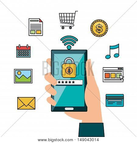 hand hold smartphone online security design vector illustration eps 10