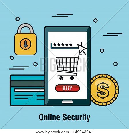 online security buy shop internet graphic vector illustration eps 10