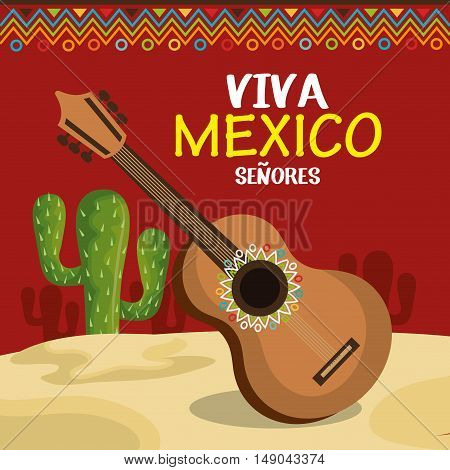 guitar and cactus of mexico icons design vector illustration eps 10