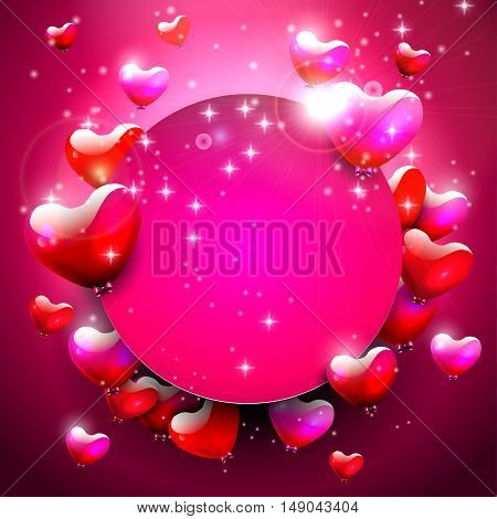 Valentine's Day modern greeting card with hearts and place for text