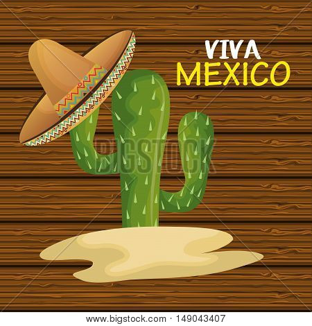 cactus with hat mexican icon design graphic vector illustration eps 10