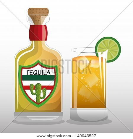 glass and tequila mexican drink design vector illustration eps 10