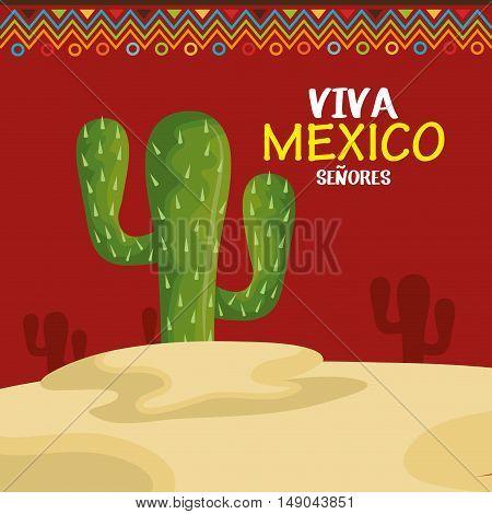 viva mexico cactus symbol design vector illustration eps 10