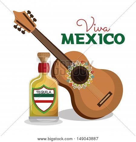 viva mexico guitar and bottle tequila graphic vector illustration eps 10