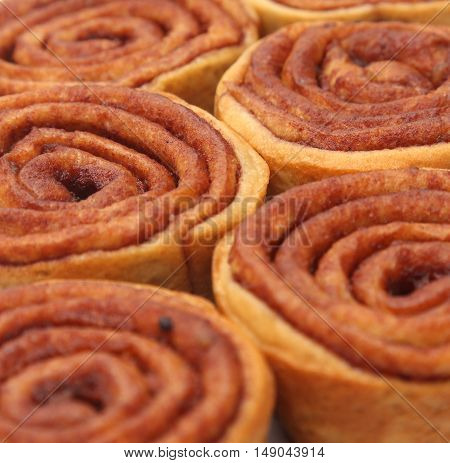 A Background Of Store Bought Cinnamon Roll Cakes