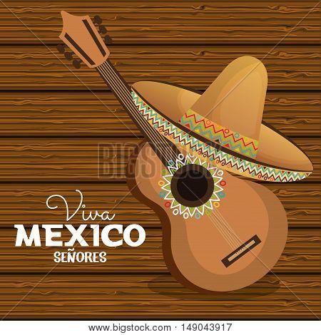 viva mexico guitar hat graphic vector illustration eps 10