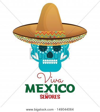 skull hat viva mexico design vector illustration eps 10