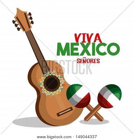 guitat and maraca flag mexico design vector illustration eps 10