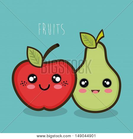 cartoon apple and pear facial expression graphic vector illustration eps 10