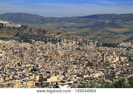 View over Medina of Fes Morocco, Africa