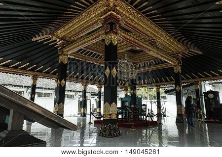 YOGYAKARTA INDONESIA APRIL 2016 : Architecture design & Interior decoration around Sultan Palace , Kraton Ngayogyakarta Hadiningrat Javanese Indonesia.