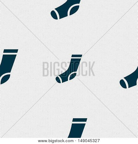 Socks Icon Sign. Seamless Pattern With Geometric Texture. Vector