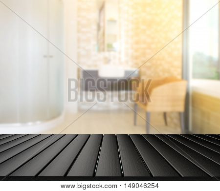 Table Top And Blur Bathroom Of Background