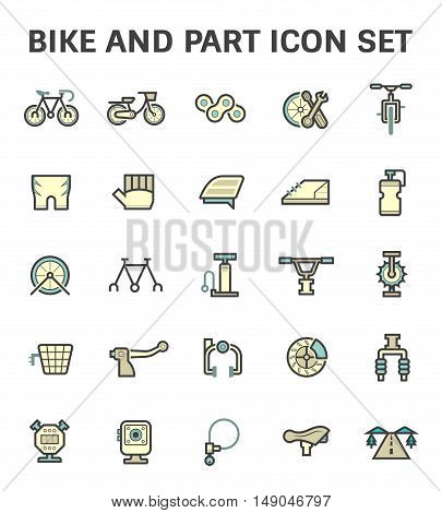 Bike and part vector icon set isolated on white background.