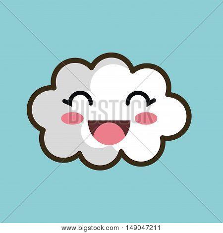 kawaii cloud smiling eyes design vector illustration eps 10