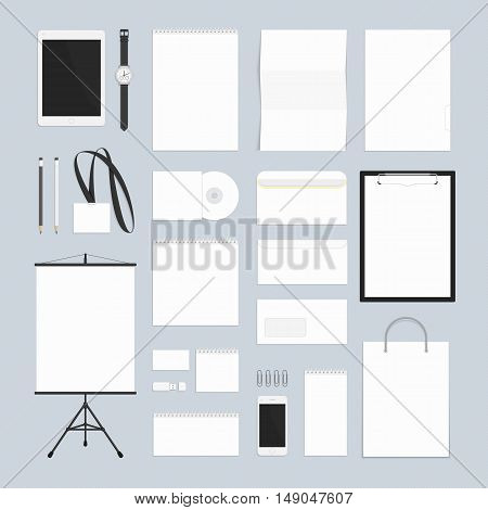 Blank white corporate identity template set. Big set of business stationery for your design layouts. Universal branding design elements. Documentation for business.
