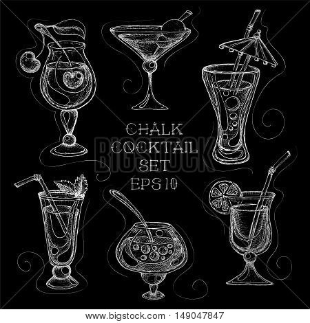 Hand drawn sketchy cocktail on blackboard set. Vector illustration