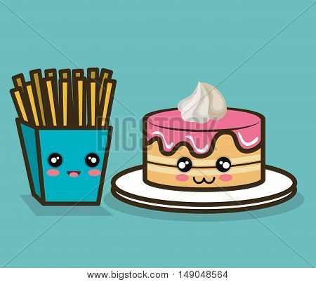 cake and fries cartoon food fast design graphic vector illustration eps 10