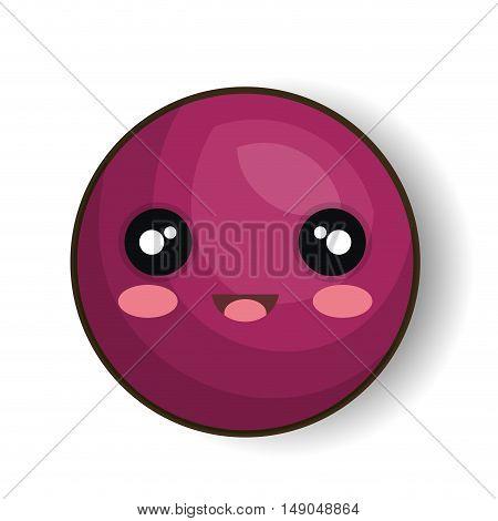 cartoon emoticon purple smiling design vector illustration eps 10