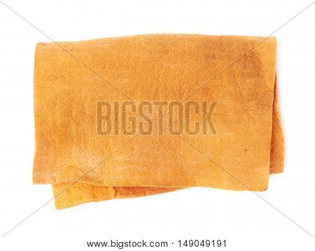 Orange old dried  kitchen cleaning napkin rag over white isolated background
