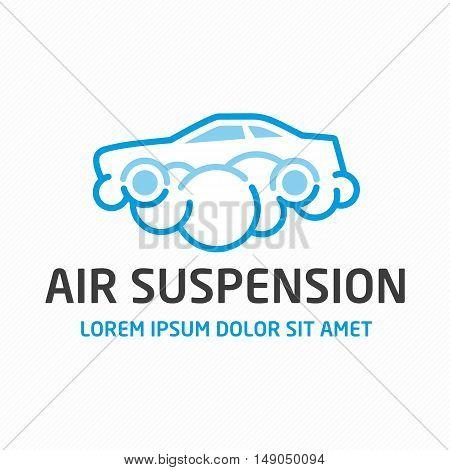 Air suspension logo. Car Maintenance, repair or sale of spare parts concept. Universal emblem template automobiles themes.