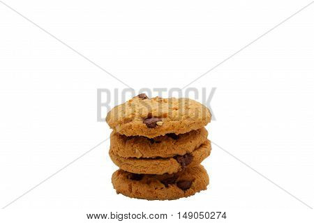 A stack of four choc chip cookies