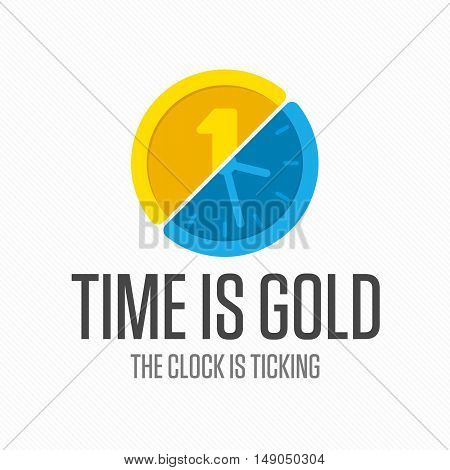 Logo time and money. Gold coin icon with watches graphic element. Concept for financial service, insurance, banking, leasing or any finance business.
