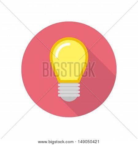 Lightbulb icon with long shadow. Vector illustration in flat style.