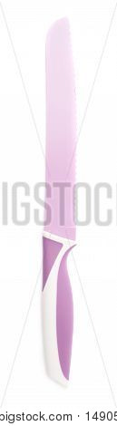 Steel violet purple kitchen knife isolated over the white background