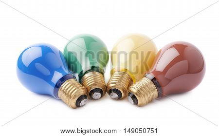 Pile of colorful electric bulbs lying on side, isolated over the white background