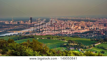 Beautiful view of skyline of Vienna and Danube River with green trees of Doebling district, Austria. Travel photo of the landmark.