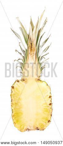 Cut raw fresh pineapple isolated over white background