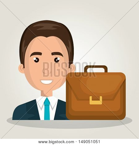 businessman portfolio suitcase work design isolated vector illustration eps 10
