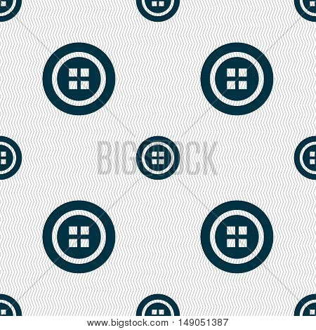 Sewing Button Sign. Seamless Pattern With Geometric Texture. Vector