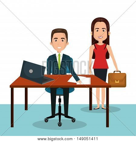 man and woman cartoon workplace work epmloyee design isolated vector illustration eps 10