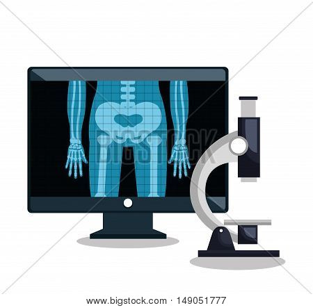 x- ray microscope and monitor pc design vector illustration eps 10