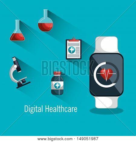 digital healthcare smartwatch monitoring health. icon medical vector illustration