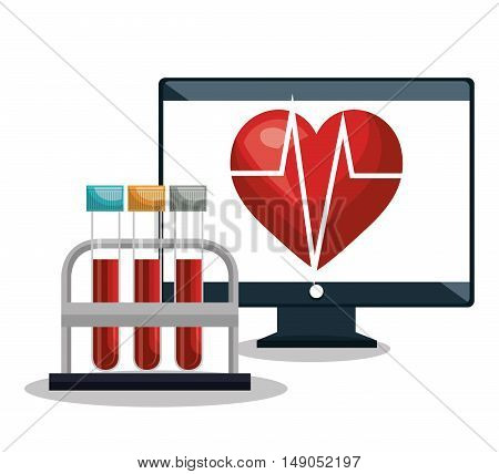 digital healthcare cardiology and test tube design vector illustration eps 10