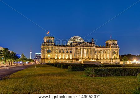 BERLIN, GERMANY, SEPTEMBER 8, 2016: The Reichstag, the seat of the german parliament, in Berlin at night