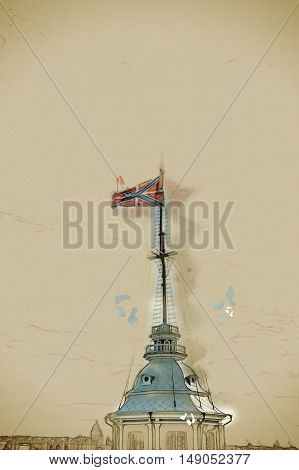 The Russian Fortress flag flatters over Peter and Paul fortress in Saint Petersburg, Russia. Flag against cloudy sky . Vintage painting, background illustration, beautiful picture, travel texture