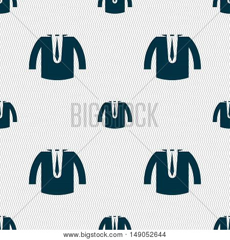 Casual Jacket Icon Sign. Seamless Pattern With Geometric Texture. Vector