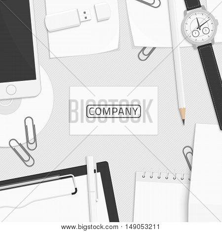 Blank Business Card Mockup Template on Workplace businessman. Branding design. Corporate identity elements. Preview of the layout for the logo or company sign.