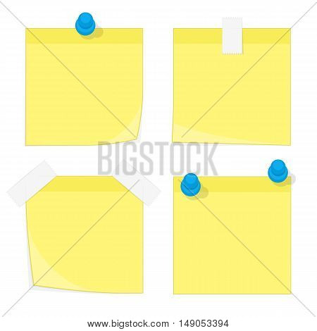 Sticky Notes. Yellow stick note set isolated on white background.